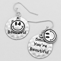 """Smile You're Beautiful"" Silver Earrings"