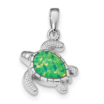 925 Sterling Silver Rhodium Plated Green Inlay Created Opal Turtle Shaped Pendant