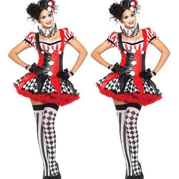 Funny Harley Quinn Costume Women Adult Clown Circus Cosplay Carnival Halloween Costumes For Women CO58157166