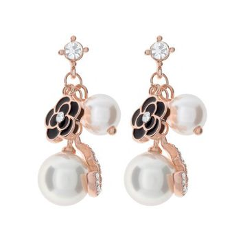 Black Flower Simulated Pearls & Clear Austrian Crystal Dangle Stud Earrings in Gold Plated