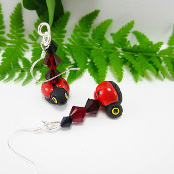 Ladybug Earrings Ceramic Bead Hand Painted Sterling Silver Swarovski Bicone Elements Garden Bug