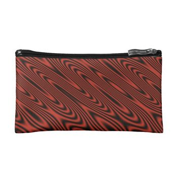 Red and Black Swirl Makeup Bag