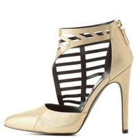 Qupid Textured Side Caged Pointed Toe Pumps