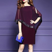 Women's Plus Size Going out Street chic Chiffon Dress,Patchwork Round Neck Knee-length ? Length Sleeve Nylon Summer Mid Rise Micro-elastic