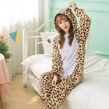 Thicken Leopard Cartoons Animal Couple Sleepwear [9088397450]