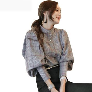 Women back bow tie slim lantern sleeve blouses plaid top work business runway blouses