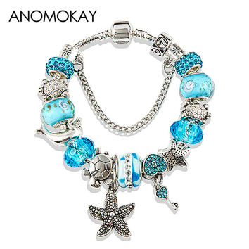 HOT 2017 Fashion Heart Key Tortoise Charm Bracelet Blue Crystal Glass Beads Bracelets & Bangles for Women Jewelry Gift P15408