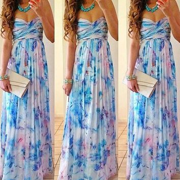Blue Floral Bandeau Pleated HOT Women Summer Boho Homecoming Evening Party Beach Chiffon Maxi Dress