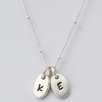 Dainty Silver or Gold Hand Stamped Pebble Charm Necklace with Silver or Gold Satellite Chain