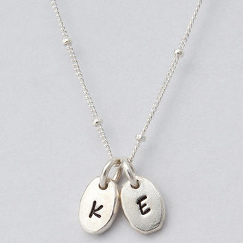 Sola - Dainty Silver Hand Stamped Bean / Pebble Necklace with Satellite Chain - Personalized Jewelry