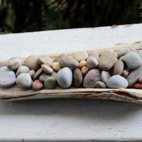 Lake Stone & Driftwood Centerpiece , Natural Home Decor , Outdoor Table Decoration