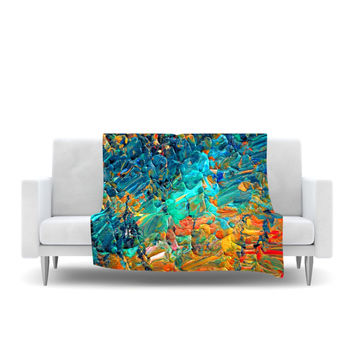 "Ebi Emporium ""Eteranl Tide II"" Teal Orange Fleece Throw Blanket"