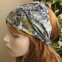 Batik Fabric Headband Gypsy Headwrap Women's Vine and Flowers Soft Colors Bandana Hair Accessory Cotton Head Band Headwrap Gifts for Her