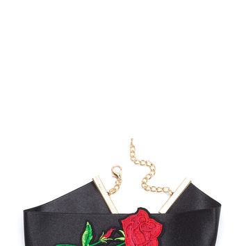 Perfect Rose Embroidered Satin Choker GoJane.com