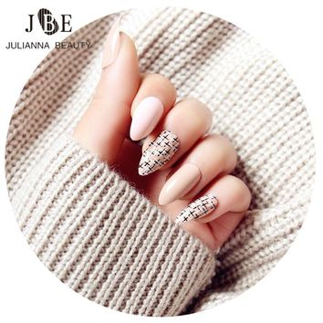 24Pcs False Nails With Glue Long French Nail Art Tips Acrylic Full Almond Stiletto Nail Tips Bare Pink Fashion Nail Accessories