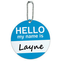 Layne Hello My Name Is Round ID Card Luggage Tag