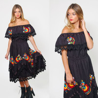 Vintage 70s MEXICAN Embroidered Dress Black Mexican WEDDING DRESS Off The Shoulder Ethnic Sun Dress Hippie Dress
