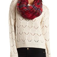 Open Weave Cable Knit Sweater by Charlotte Russe