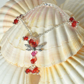 Red Dragonfly, Summer Style, Everyday Bracelet, Dragonfly Design, Festival Bracelet, Red Charm Bracelet, Gift Under 20, Red Beaded Bracelet