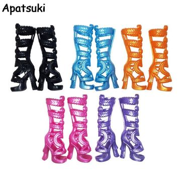 5pairs/lot Fashion Children Kids Baby Toys Doll Accessories High Heel Boots Shoes For Monster High Dolls For 1/6 BJD Doll