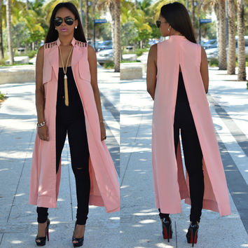Pink Lapel Sleeveless Back Slit Long Top