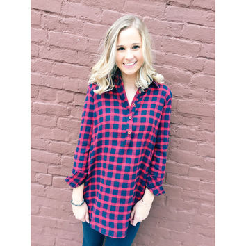 Living in Flannel Tunic- Red/Blue