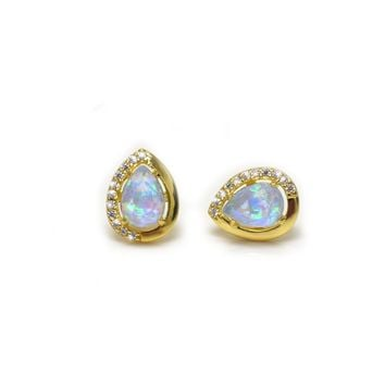 Blue Opal & Diamond Azure Studs