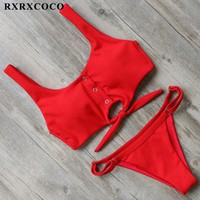 RXRXCOCO Solid Bikini Sets 2018 Sexy Sport Bikini Adjustable Buttom Swimsuit Women Padded Swimwear Summer Beachwear Bathing Suit