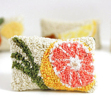 Pink Grapefruit and Lemongrass Miniature Sachet. Punch Needle Embroidery. Spring Home Decor. Pink, Orange, Green. For Her by HarpandThistle