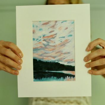 Acrylic Painting - Acrylic Landscape Painting, 5x7 Print, Lake Landscape, Painting of Trees, Sunset, Lake Painting, Clouds, Sky, pink