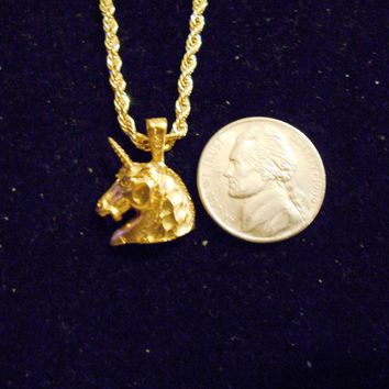bling 14kt yellow gold plated fantasy mythical magic stonehenge fantasy legend folklore fighting small unicorn head pendant charm 24 inch rope chain hip hop trendy fashion necklace jewelry