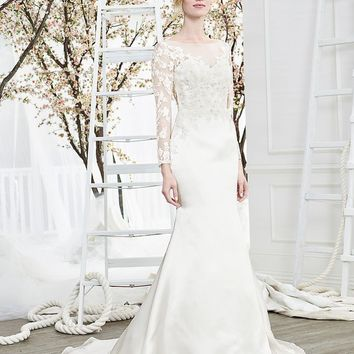 Beloved by Casablanca Bridal Unity Long Sleeve Lace Fit & Flare Wedding Dress