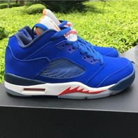 Air Jordan 5 Retro Low Knicks Deep Royal Blue/midnight Navy Atomic Orange Team Orange Aj5 Sneakers