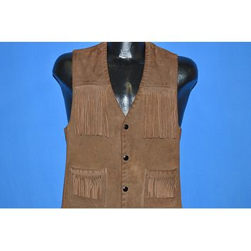 70s Suede Leather Fringe Vest Small