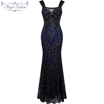 Angel-fashions Off Shoulder Sequin Vintage Gatsby Party Mermaid Long Evening Dress Abendkleid  Black 220-1