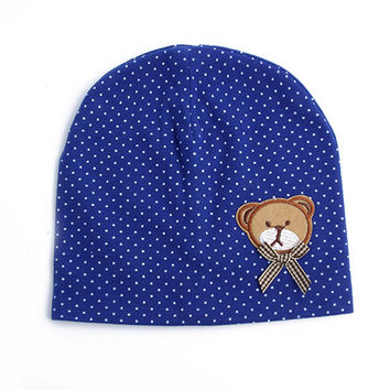 0-9M Lovely Infant Unisex Baby Boys Girls Bear Dots Pattern Cotton Cap Beanie Hats 9 Colors SM6