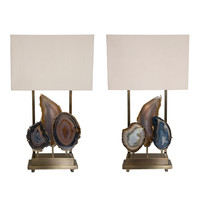 """Pair of Limited Edition """"Pedra"""" Lamps, Dragonette Private Label"""