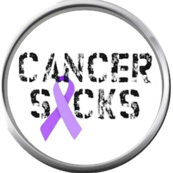 Purple Ribbon Cancer Sucks Cancer Ribbon Survivor Hope For All Support Cure Awareness 18MM - 20MM Snap Jewelry Charm
