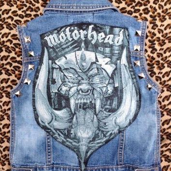 MOTORHEAD - Upcycled Rock Band Vest - Little EvilRose - OOAK