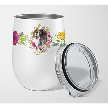 German Shorthaired Pointer Pink Flowers Stainless Steel 12 oz Stemless Wine Glass CK4157TBL12