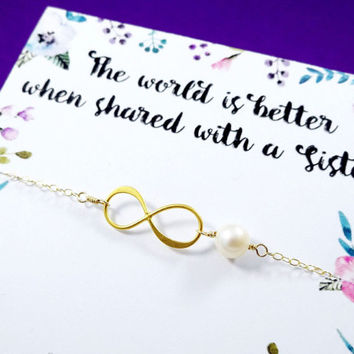 Gold infinity bracelet, Sister gifts, Friendship bracelet, Sorority sisters, Bridesmaid gift, Sister card, pearl bracelet,college graduation
