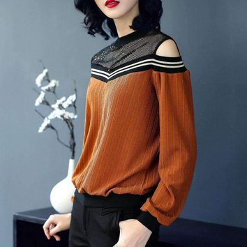 Hot Sale New Arrival 2018 Spring Women's Fashion Loose O Neck Long Sleeve Off Shoulder T Shirt Tops Ladies Hole Hollow Out Tees