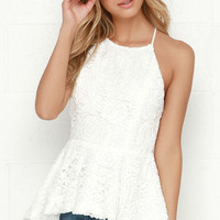 Lace Exploration Ivory Lace Peplum Top