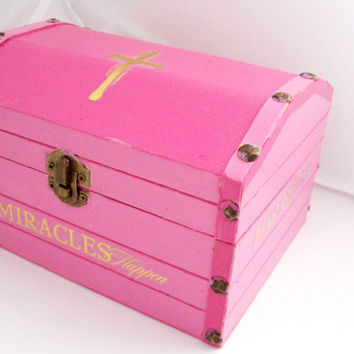Pink Jewelry Box, Keepsake Box, Jewelry Storage, Christian Decor, Cross Decor, Trinket Box, Christian Jewelry Box, Pink Box, Pink and Gold