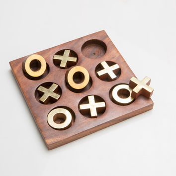 Rusticity Wooden Tic Tac Toe Game Board | Handmade | (5x5 in) '