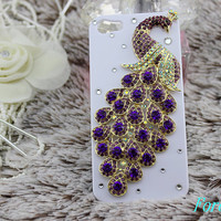 peacock iphone case i phone 4 4s 5 case blue cute by Forever100