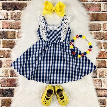 RTS Blue and White Gingham Dress D32