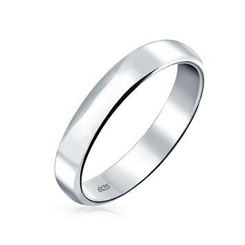 Plain Simple 925 Sterling Silver Dome Couples Wedding Band Ring 4MM