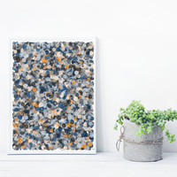 Abstract Art based on Math, inspired by Jackson Pollock. Mystic Rose splatter_orangeBlue, Limited Edition 8x10 Giclee print