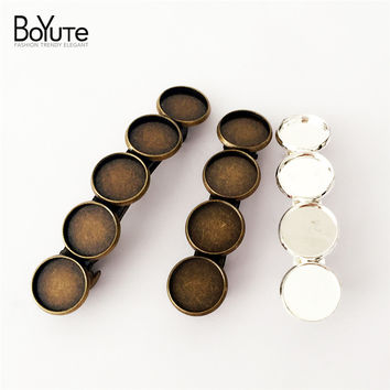 10Pcs 12MM Cabochon Base Tray Antique Bronze Silver Blank Hair Clips Settings Vintage DIY Hair Jewelry CL0172